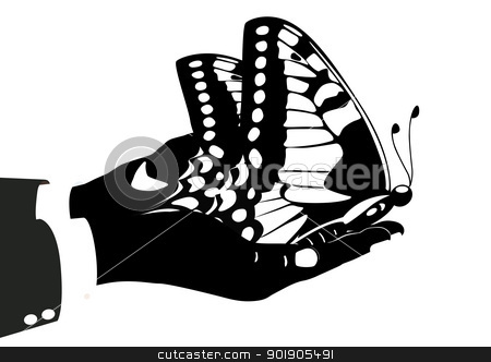 Butterfly in his hands stock vector clipart, Human hand holding a butterfly. Black and white illustration. by Sergey Skryl