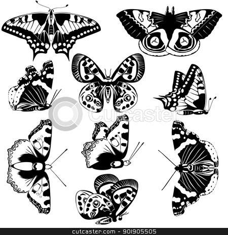 Butterflies stock vector clipart, The contours of butterflies. Black and white illustration. by Sergey Skryl