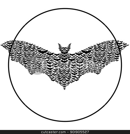 Bats stock vector clipart, Bats make up the shape of a big bat.Black and white illustration. by Sergey Skryl