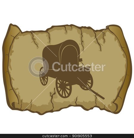 An old wagon and parchment stock vector clipart, Antique vehicle on a background of parchment. The illustration on a white background. by Sergey Skryl
