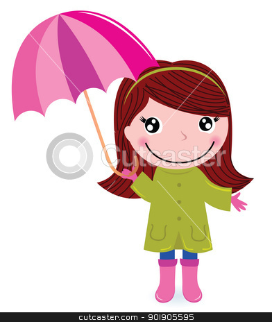 Cute little girl with Umrella in rain stock vector clipart, Autumn child with Umrella. Vector cartoon Illustration by Jana Guothova