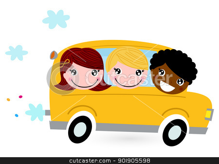 Yellow school bus with kids isolated on white stock vector clipart, School children riding in a school bus. Vector by Jana Guothova