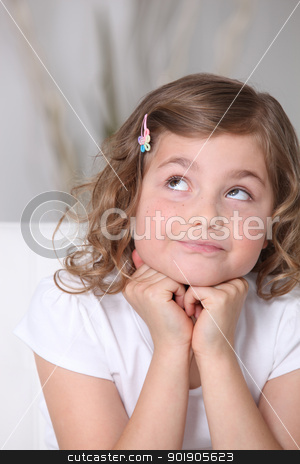Adorable little girl looking up stock photo, Adorable little girl looking up by photography33