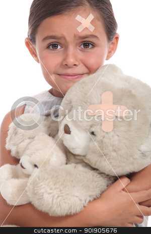Little girl and teddy bear injured stock photo, Little girl and teddy bear injured by photography33