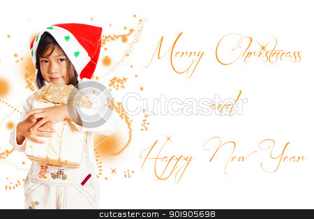 Little girl stock photo, Happy little girl with Christmas gift isolated on white background with area for your text by p.studio66