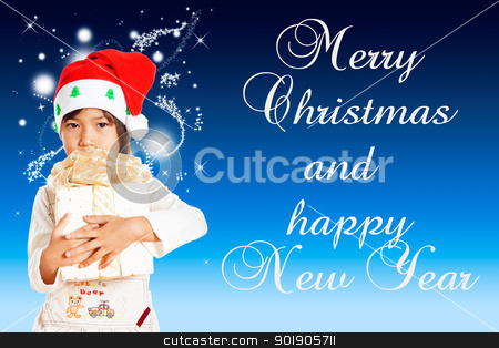 Little girle stock photo, Happy little girl with Christmas gift isolated on blue background with area for your text by p.studio66