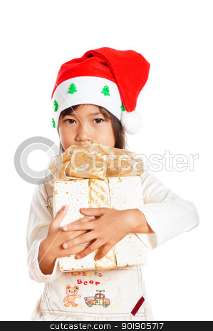 Little girle stock photo, Happy little girle with Christmas gift isolated on white background by p.studio66
