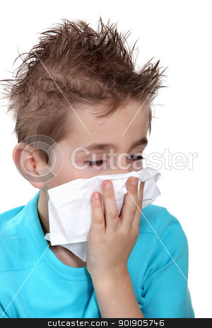 Boy with a cold stock photo, Boy with a cold by photography33