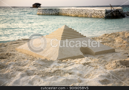 Sand architecture stock photo, Sand pyramid on the beach by Abdul Sami Haqqani