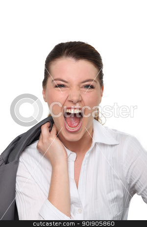 Screaming woman in suit stock photo, Screaming woman in suit by photography33