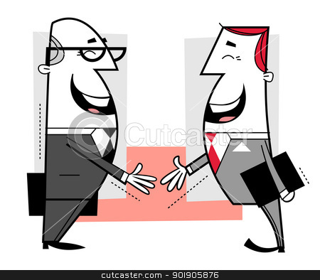 Businessmen shaking hands stock vector clipart, Businessmen shaking hands cartoon illustration. by Moenez
