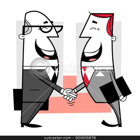 Businessmen shaking hands stock vector clipart, Businessmen shaking hands cartoon illustration by Moenez