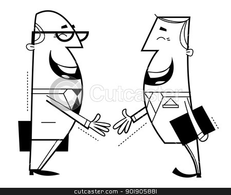 Businessmen shaking hands stock vector clipart, Businessmen shaking hands cartoon illustration. Outline. by Moenez