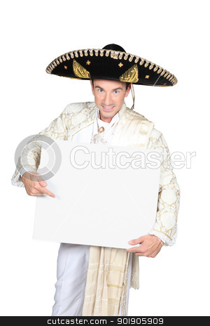 Mexican pointing at sign stock photo, Mexican pointing at sign by photography33