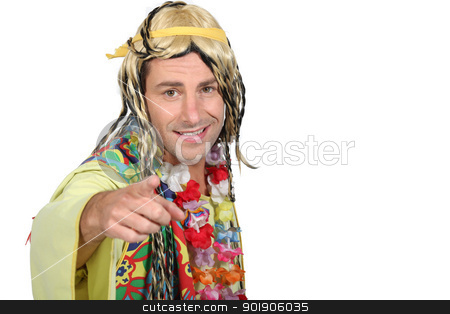 Man in hippie costume stock photo, Man in hippie costume by photography33