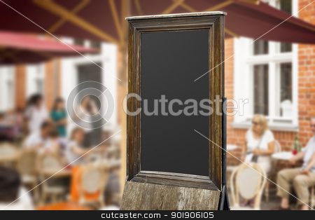 old blackboard stock photo, An image of an old blackboard in a pedestrian area by Markus Gann