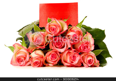 Roses with gift card stock photo, Bouquet of rose flowers with a blank gift card, isolated on white background by Lars Christensen