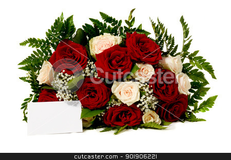 Flowers and blank card stock photo, Bouquet of rose flowers with a blank gift card, isolated on white background by Lars Christensen