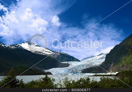 Mendenhall Glacier stock photo, Mendenhall Glacier in Juneau, Alaska by Don Fink
