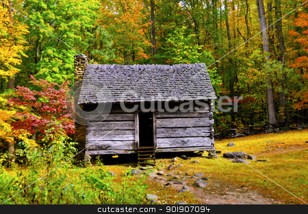 Log Cabin in Fall stock photo, A log cabin in the Great Smoky Mountains national park in the fall by Bonnie Fink