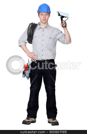 Electrician installing CCTV system stock photo, Electrician installing CCTV system by photography33