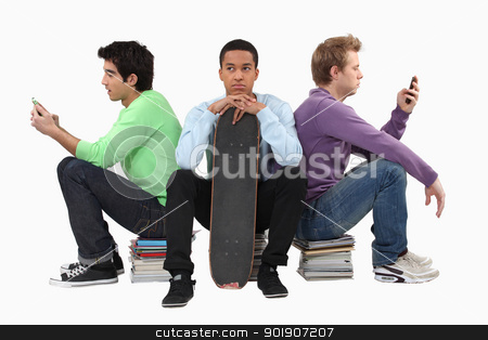 Annoyed young man waiting for his friends to finish texting stock photo, Annoyed young man waiting for his friends to finish texting by photography33