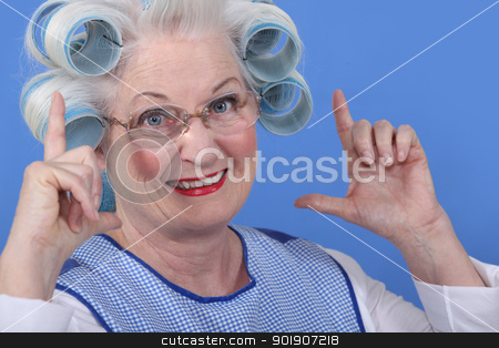 Granny with her hair in rollers stock photo, Granny with her hair in rollers by photography33