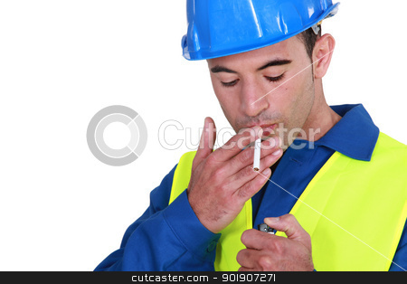 Mason with lit cigarette stock photo, Mason with lit cigarette by photography33