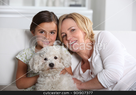 Mother, daughter and the dog stock photo, Mother, daughter and the dog by photography33