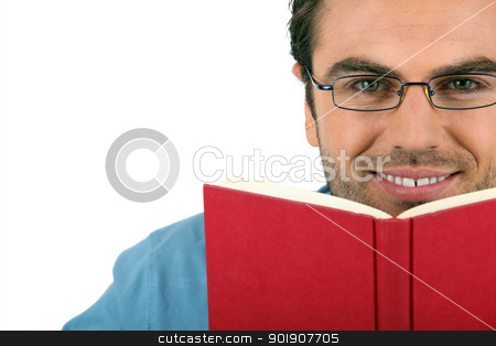 Man reading with glasses stock photo, Man reading with glasses by photography33
