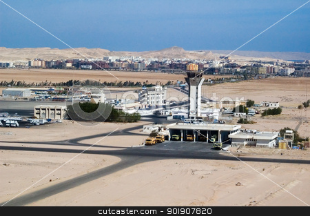 Hurghada airport stock photo, Hurghada airport withh communication tower in Egypt Africa by Aikon