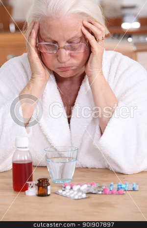 Old woman with a lot of medicine  to take stock photo, Old woman with a lot of medicine  to take by photography33