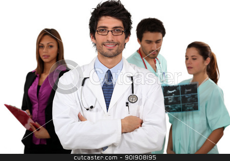 Doctor and his medical team stock photo, Doctor and his medical team by photography33