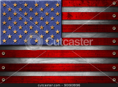 USA Grunge Wood Flag stock photo, Usa grungy wooden flag with the heads of screws  by catalby