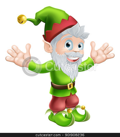 Garden gnome or elf stock vector clipart, Cartoon happy smiling garden gnome elf or pixie man with a pointy hat and beard by Christos Georghiou