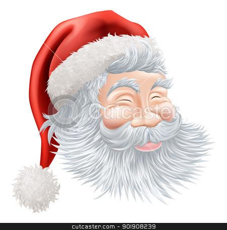 Christmas Santa Claus Face stock vector clipart, Illustration of a happy cartoon Christmas Santa face by Christos Georghiou