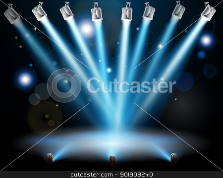 Blue lights concept stock vector clipart, Blue lights focused on one spot in the centre by Christos Georghiou