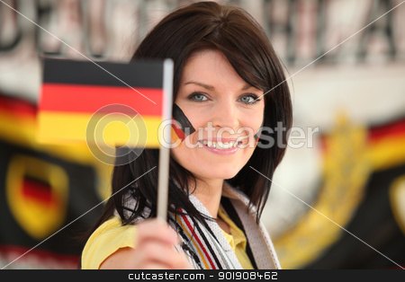 Woman supporting the German football team stock photo, Woman supporting the German football team by photography33
