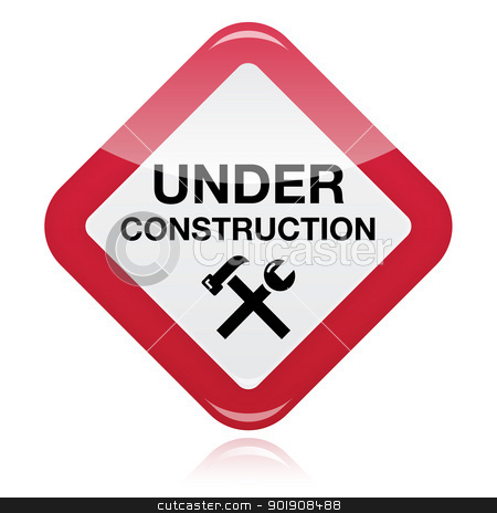 Under construction red warning sign stock vector clipart, Website under construction glossy red sign with tools by Agnieszka Bernacka