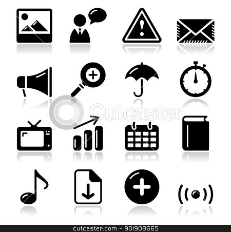 Website internet glossy sqaure icons set stock vector clipart, Modern application website black icons with shadows set by Agnieszka Bernacka