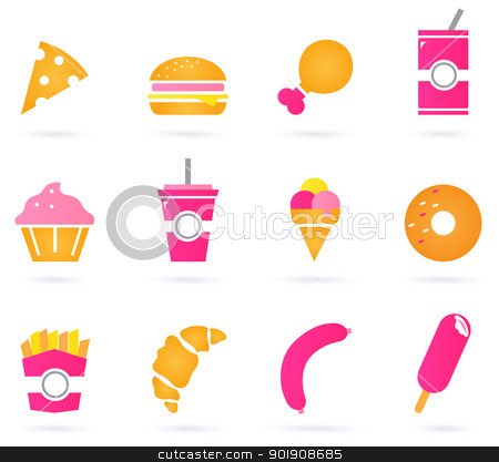 Unhealthy food icons isolated on white stock vector clipart, Sweet and unhealthy food set. Vector by Jana Guothova