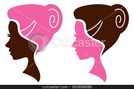 Women facial silhouette set - pink and brown stock vector clipart, Women head in profile. Vector Illustration by Jana Guothova