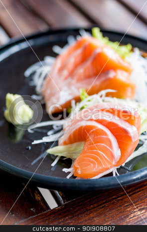 Salmon sashimi japanese traditional food stock photo, Salmon sashimi on japanese traditional food by moggara12