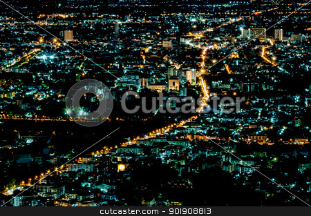 Lights in city night time scene in thailand stock photo, Lights in city night time scene in chiangmai of thailand by moggara12