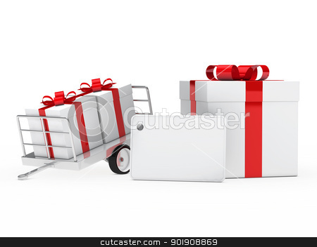 gift boxes red ribbon stock photo, christmas white gift box red ribbon signboard by d3images