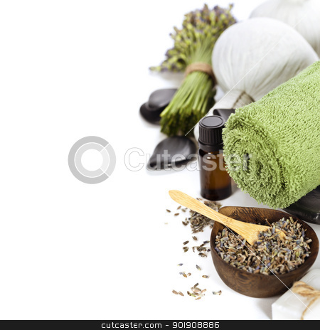 Lavender spa stock photo, lavender spa (fresh lavender flowers,  essential oil, zen stones,  Herbal massage balls, towel) over white by klenova