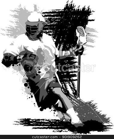 Lacrosse Player Splatter Vector Illustration stock vector clipart, Graphic Vector Image of a Lacrosse Player Running with a Lacrosse Stick by chromaco