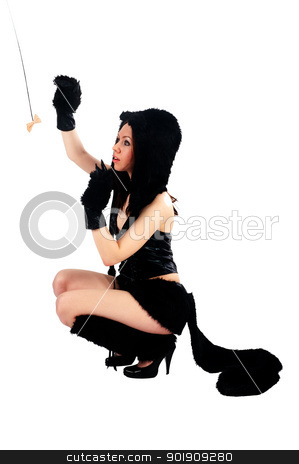 beautiful girl in cat costume stock photo, Portrait of beautiful model in cat costume. Isolated on white by Aikon