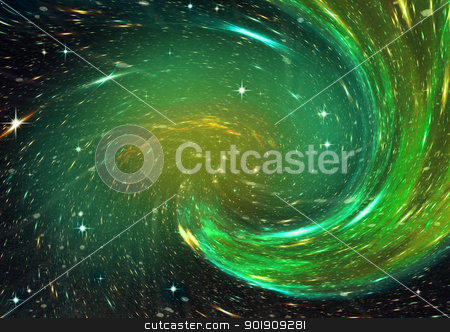 Far away spiral galaxy stock photo, Stars and spiral galaxy in a free space by Anatolii Vasilev
