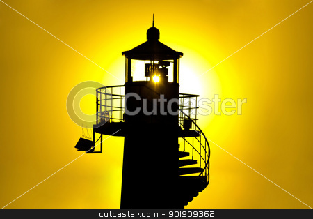 Lighthouse silhouetteat yellow sunset stock photo, Lighthouse silhouetteat yellow sunset, Zadar, Croatia by xbrchx